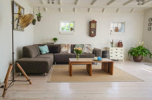 brown-wooden-center-table-in beige room